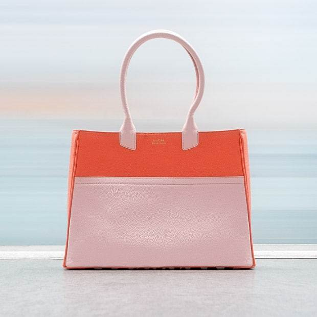 Bespoke handcrafted luxury handbags, leather Tote bag in pink and coral red color