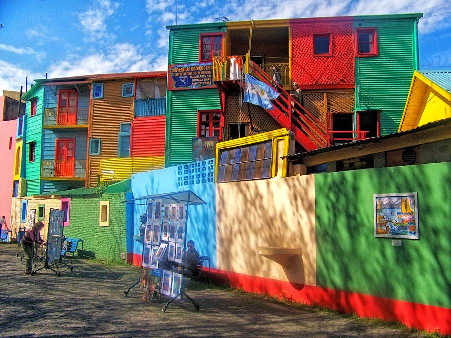 Caminito in Buenos Aires, colourful houses in an art street and handmade leather belt