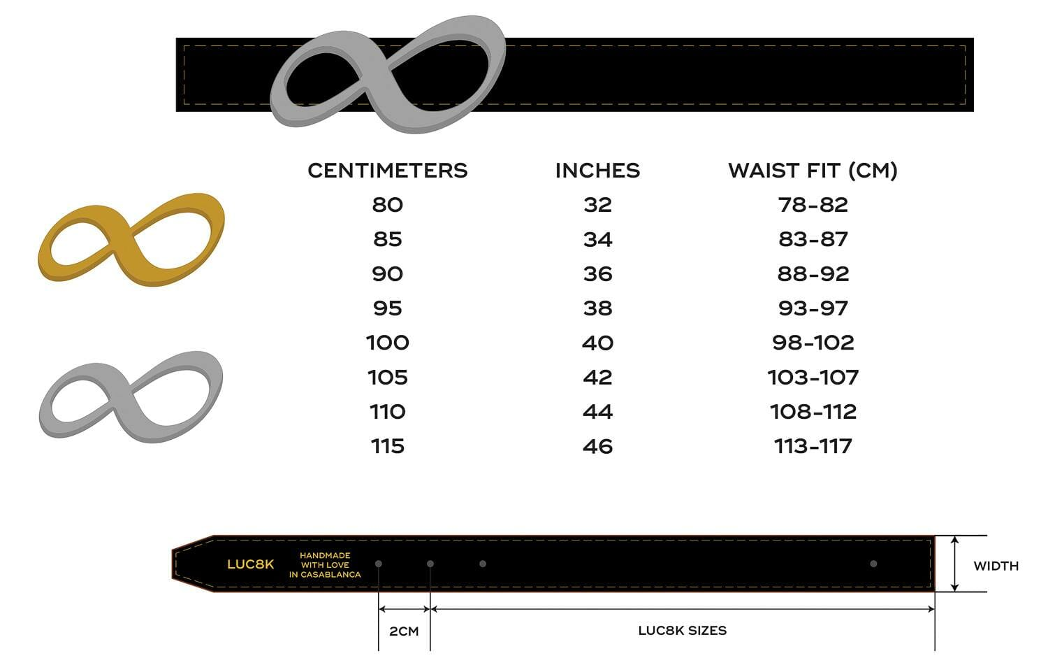 Custom Leather Belts Size Chart by Luc8k. The picture shows 2 belts and how to measure the size for a customized leather belt