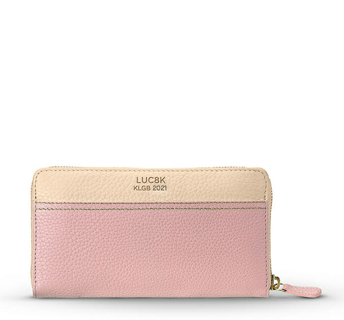 Customized leather wallet for ladies in sustainable pink and beige leather