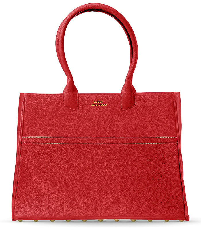 Elegant Tote handbag in red leather handmade in France