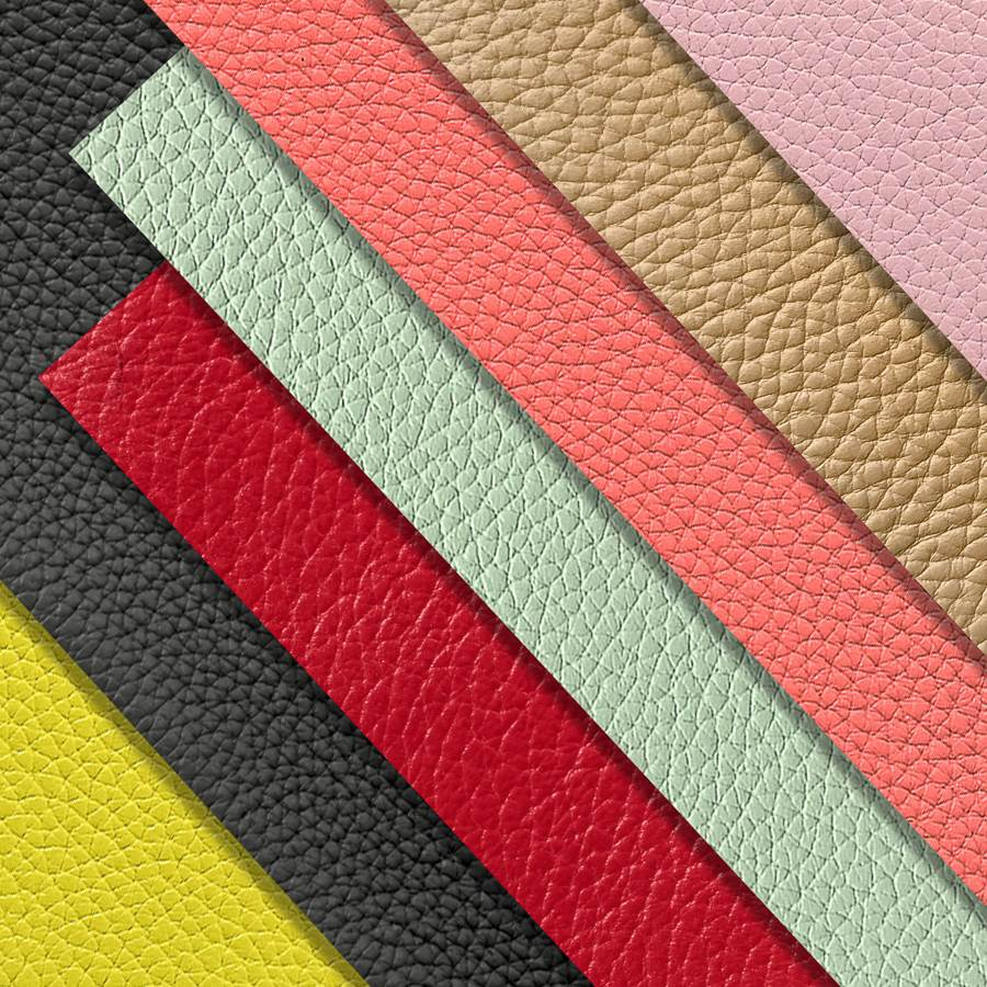 7 grained leather pieces for customized leather goods from Luc8k. The colors are pink, beige, coral red, seafood green, dark red, black and fantastic yellow.