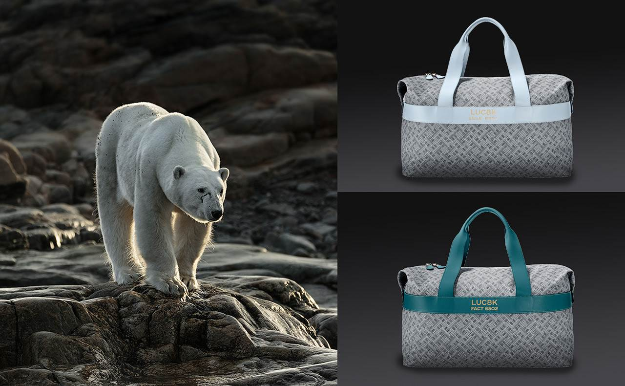 Handmade duffle bags, made with leather and canvas luxury bags, left side polar bear