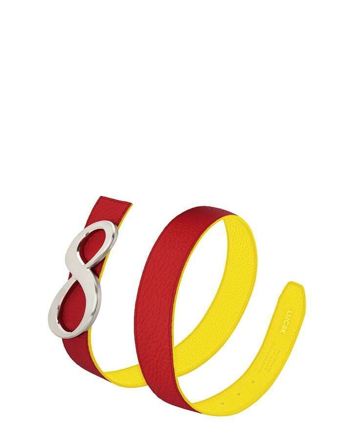Leather belt for women, reversible belt in dark red and yellow. Solid interchangeable buckle