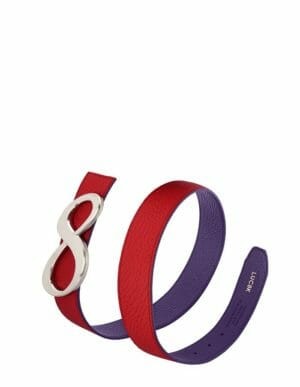 Leather belt for women, reversible belt in dark red and petunia. Solid interchangeable buckle