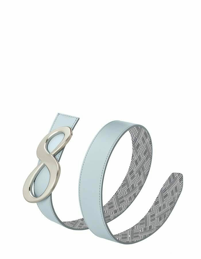 Leather belts for women, sky blue and canvas reversible belt with silver buckle which is a infinity sign