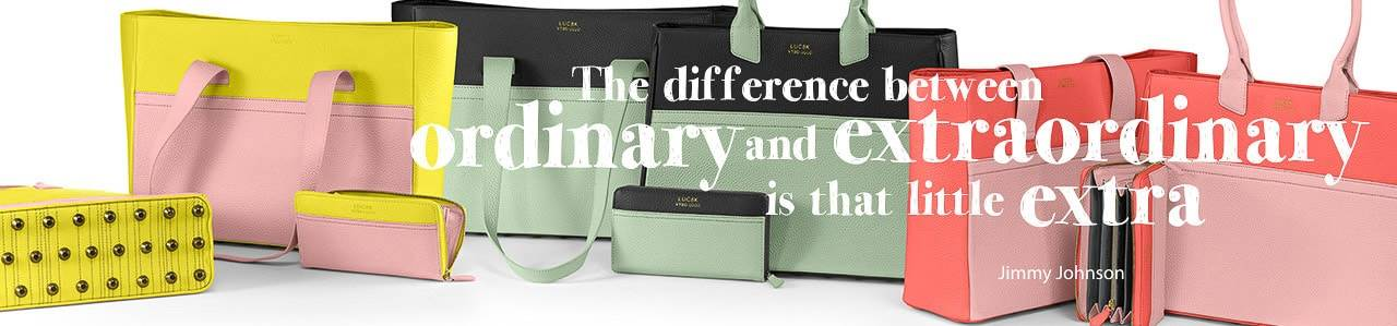 Luc8k leather handbags collection banner
