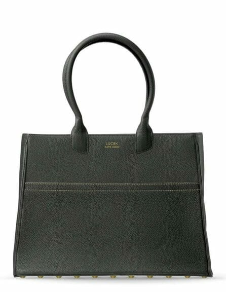 Luc8k luxury leather handbags, solid handcrafted black leather Tote of finest leather from France. Handbag stands on white background