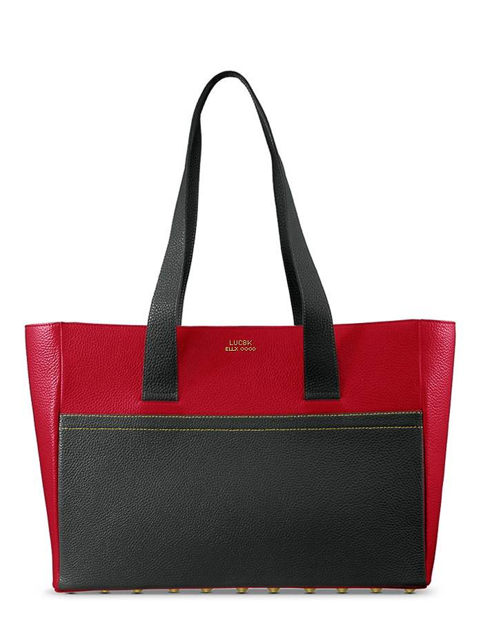 Luc8k luxury leather Shopper handbags, a single black and dark red handcrafted leather handbag on white background
