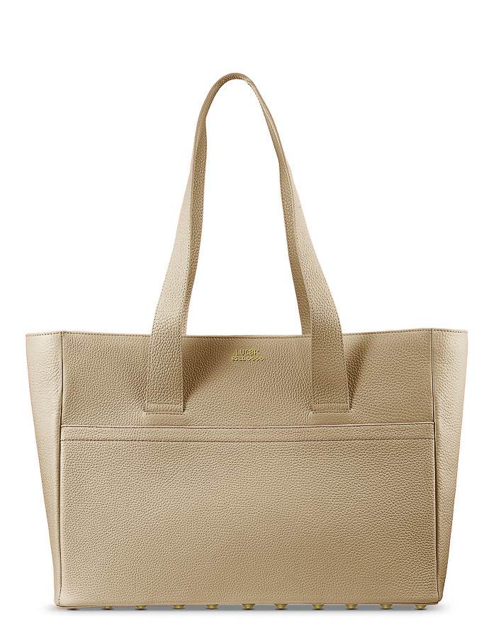 Exclusive handmade Luc8k shopper handbag in brown leather standing on white background
