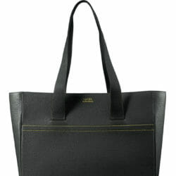 Luc8k Shopper KJFK personalised luxury bag in solid pirate black leather, front view and handles up
