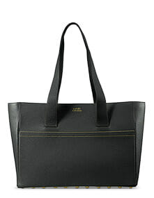 Personalised handmade leather shopper in solid black leather with golden stitches on white background