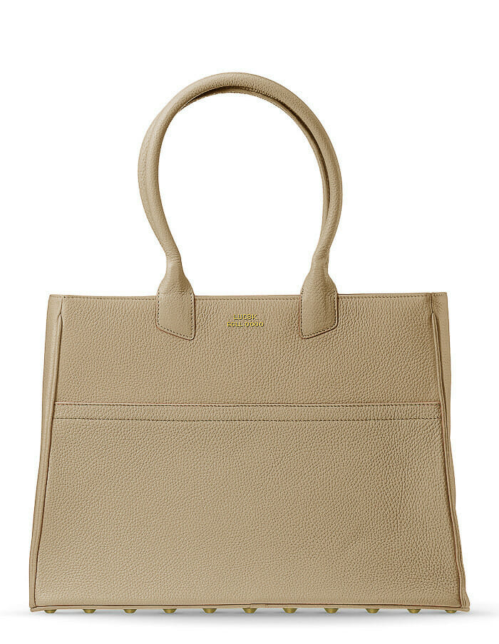 handmade purse design, an exclusive brown leather Tote purse standing on white background
