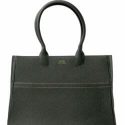 Lady Leather Tote handbag solid black customized handmade leather handbag front view