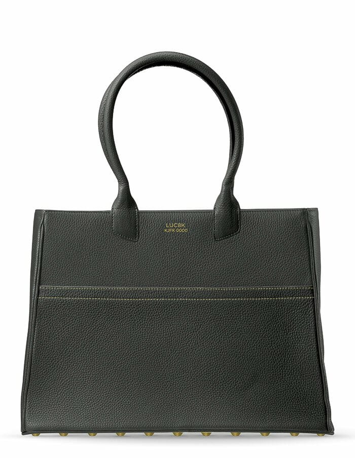Luc8k Tote KJFK solid black customized handmade leather handbag front view