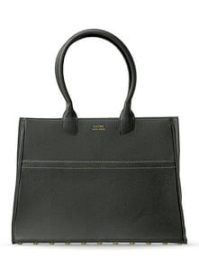Luxury custom made leather tote, handcrafted in solid black with golden stitches on white background, available in online shop