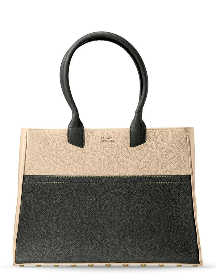 Luc8k Tote SUMU bespoke leather bag, front view in black and green front view