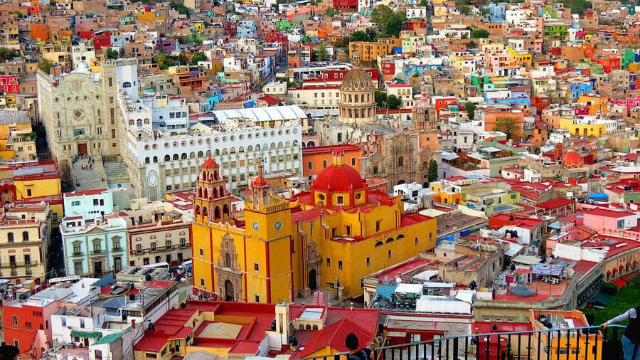 Mexico City from top, colourful church and houses
