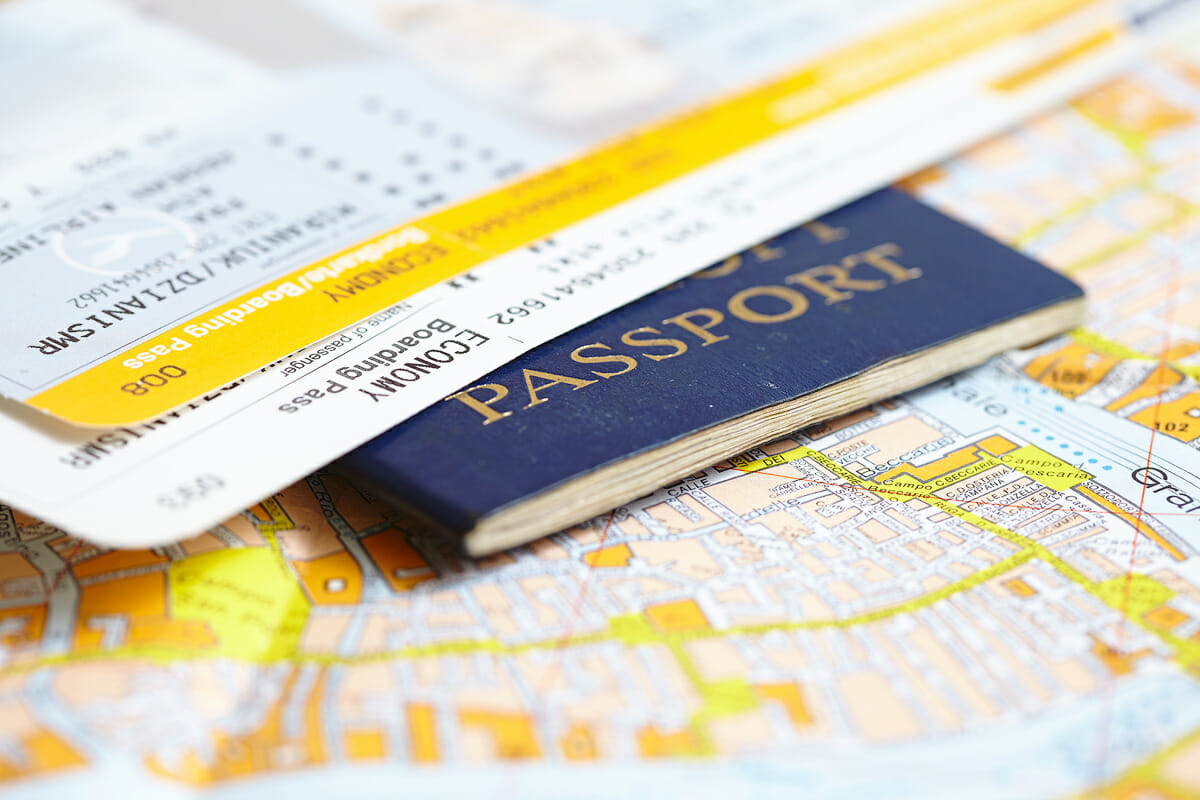 Passport and boarding pass for traveling and packing intelligently