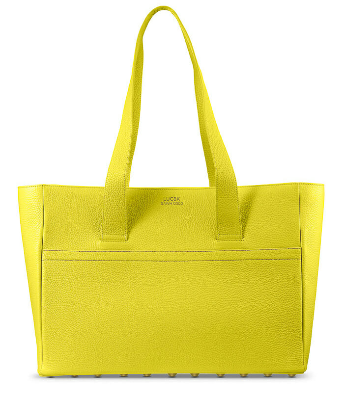 Personalized Shopper handbag in yellow sustainable leather