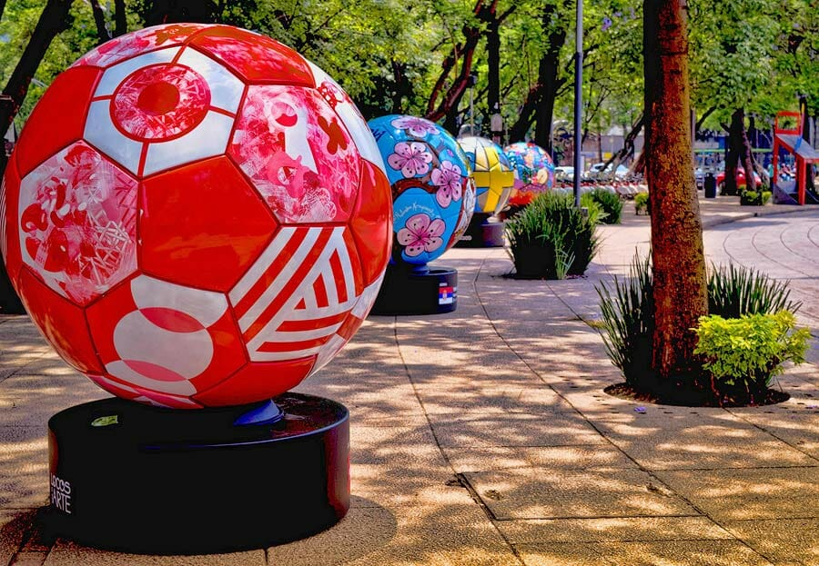 Oversize soccer balls in a park in Mexico City