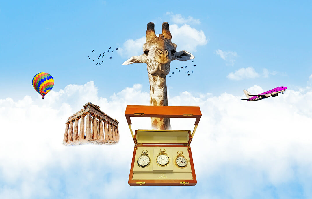 Sophie, giraffe head above the new Olympic Watches from Omega